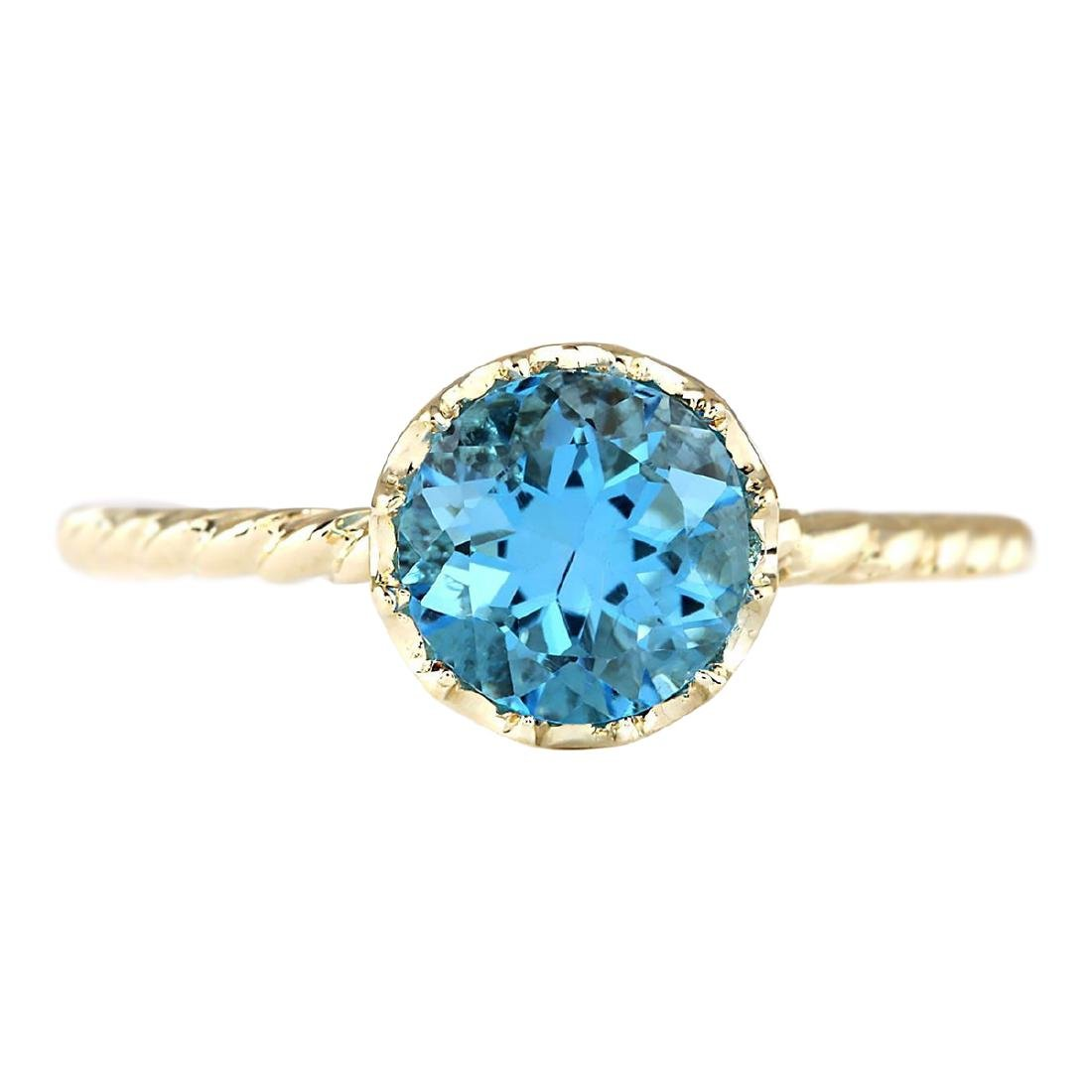 1.50 CTW Natural Blue Topaz Ring In 18K Yellow Gold
