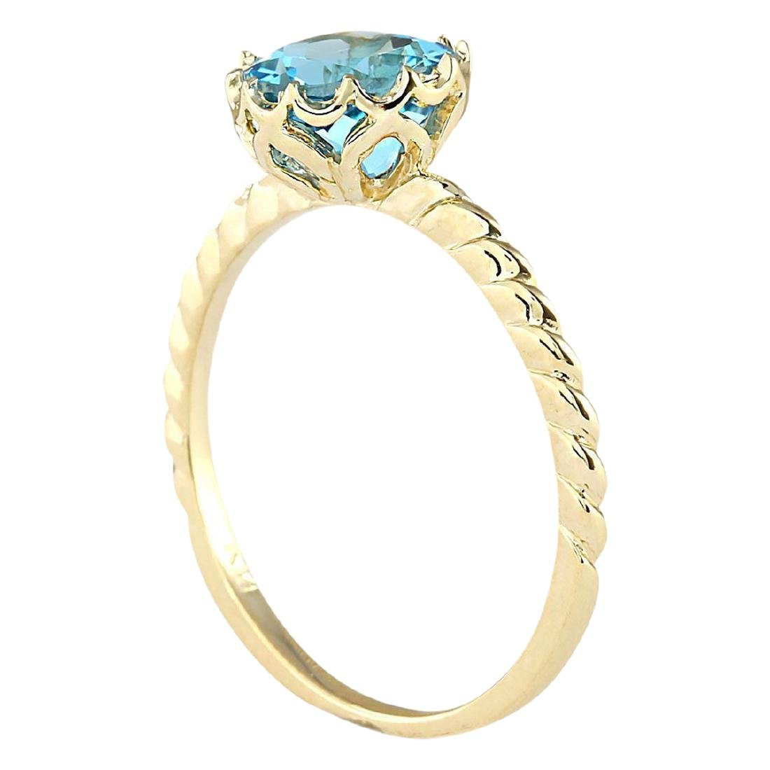 1.50 CTW Natural Blue Topaz Ring In 18K Yellow Gold - 3