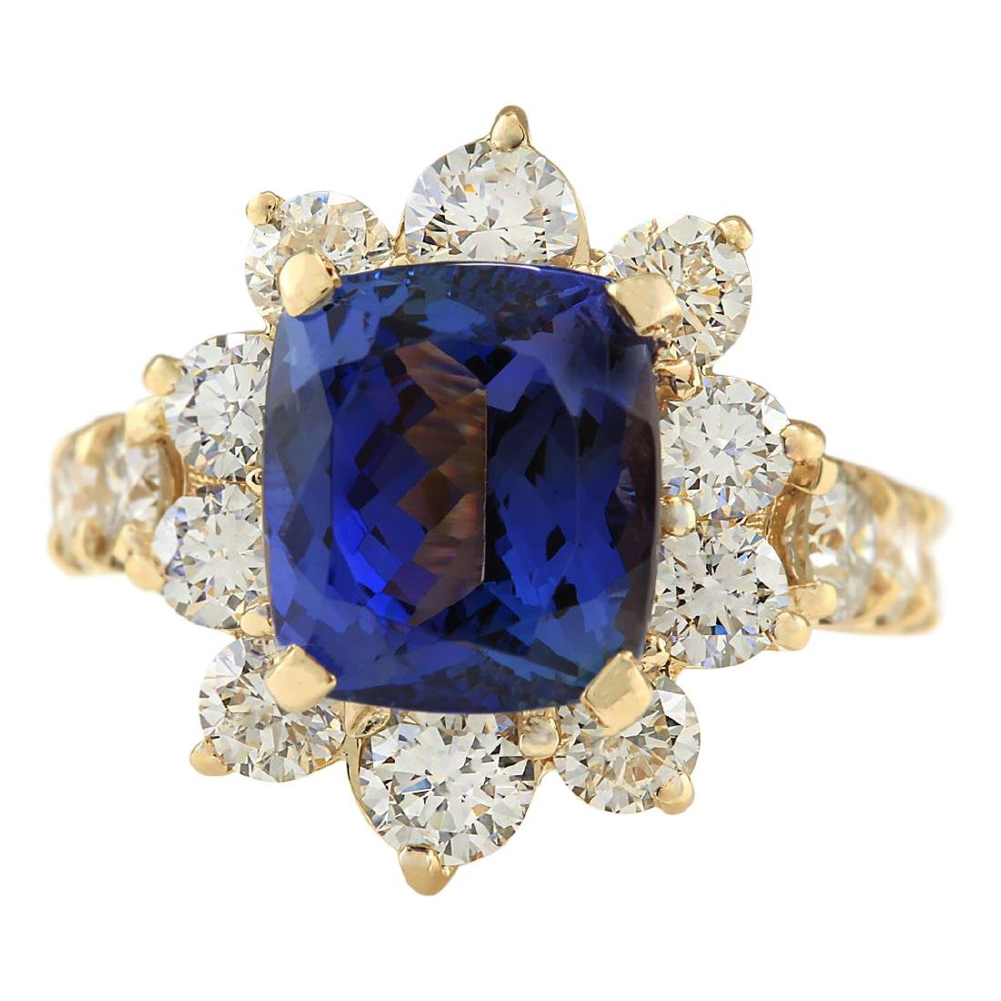 7.83 CTW Natural Tanzanite And Diamond Ring In 18K