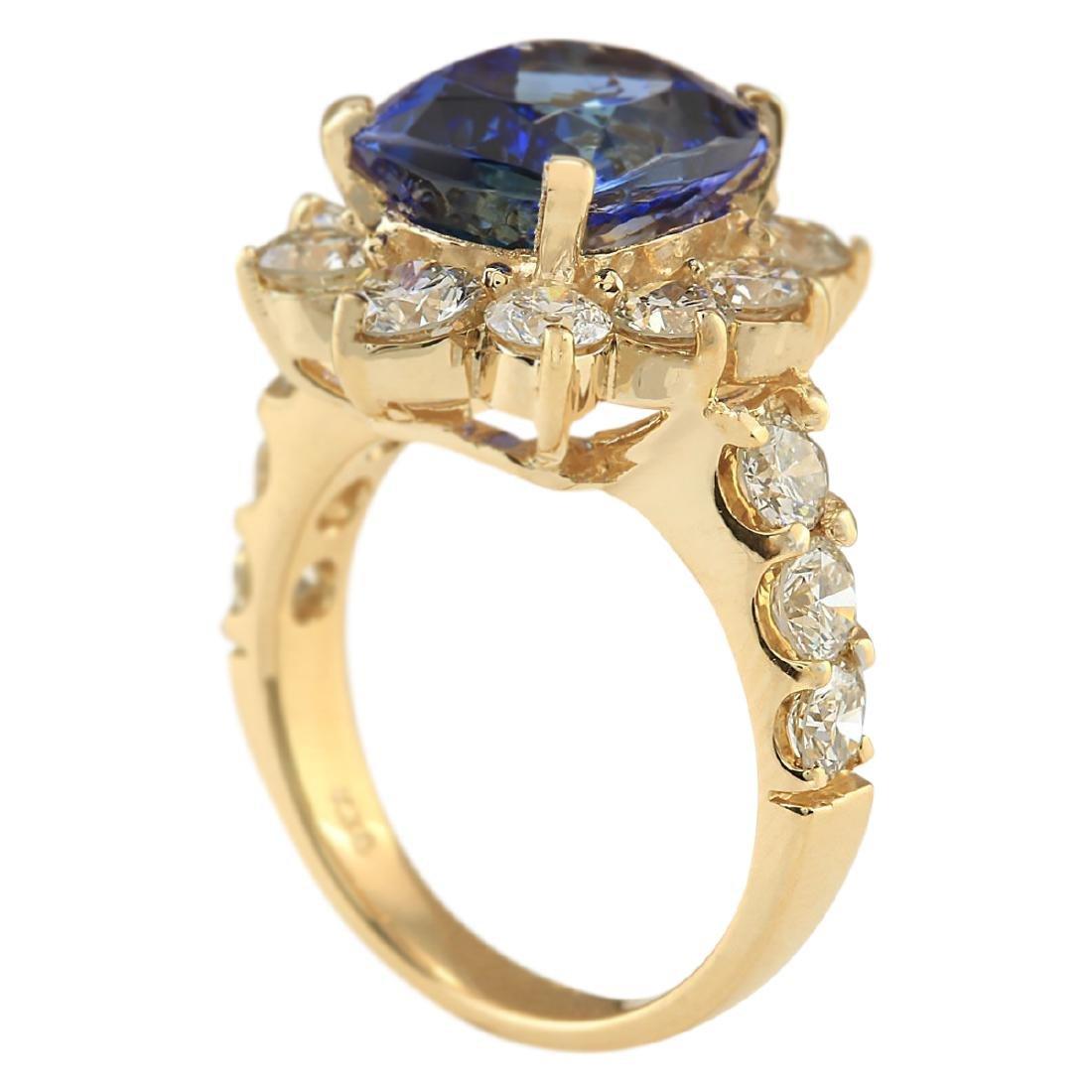 7.83 CTW Natural Tanzanite And Diamond Ring In 18K - 4