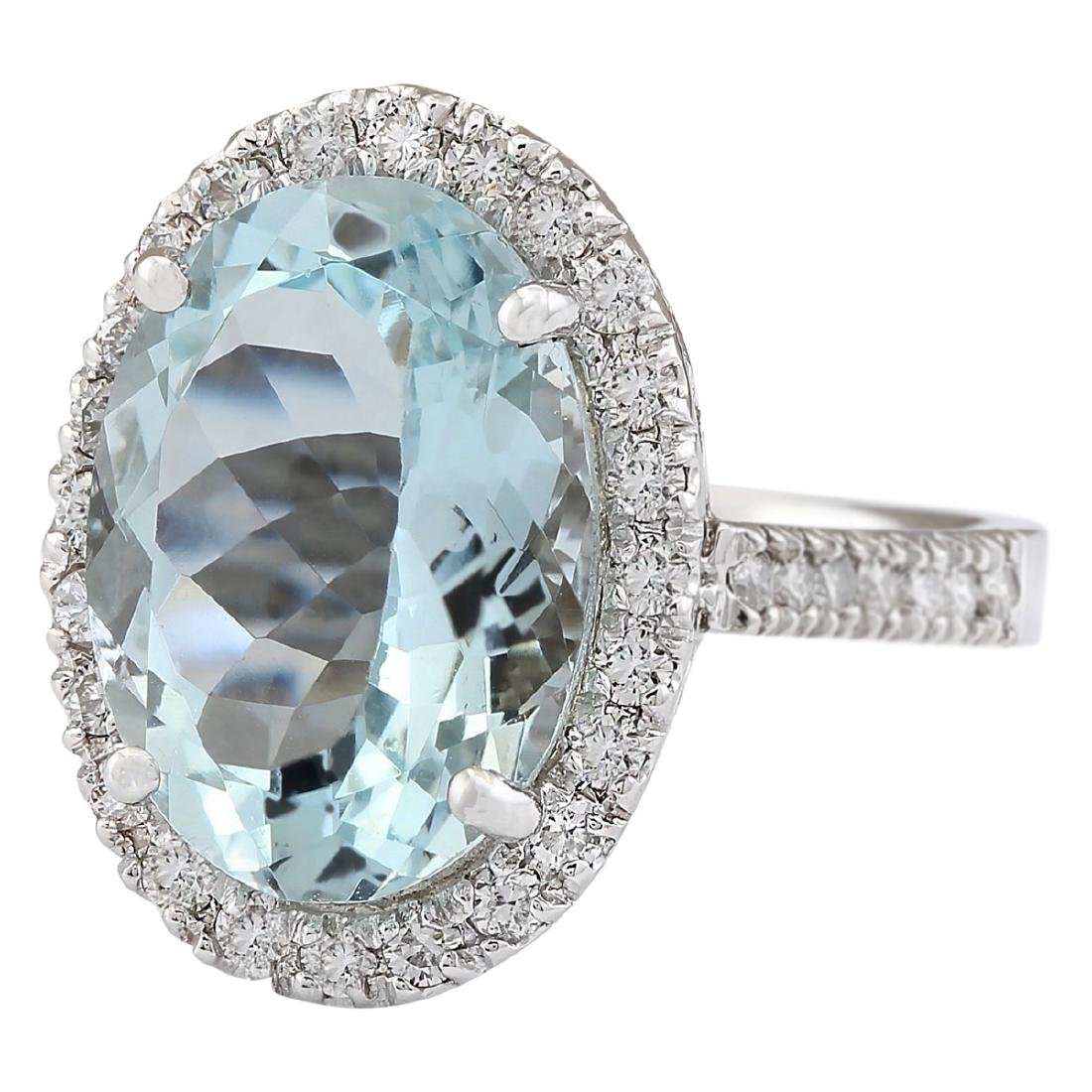 6.90 CTW Natural Aquamarine And Diamond Ring In 18K - 2