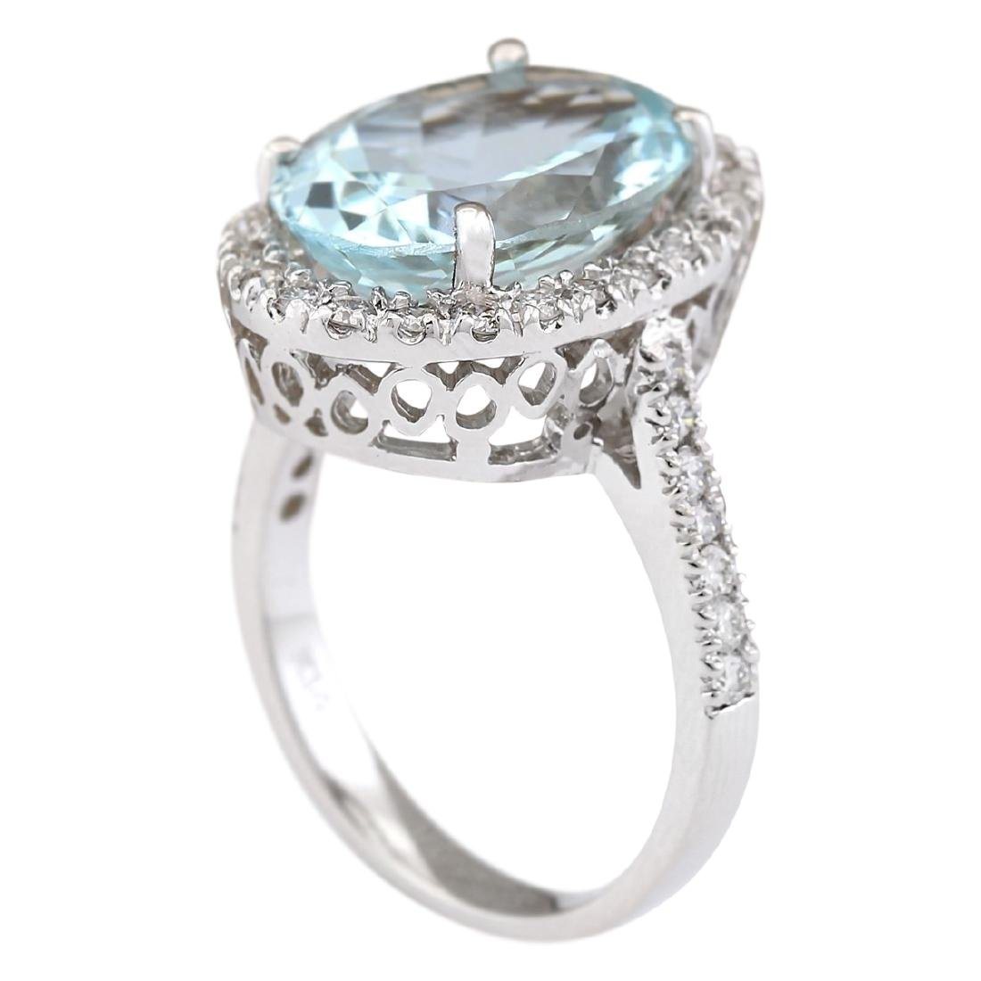 6.90 CTW Natural Aquamarine And Diamond Ring In 18K - 3