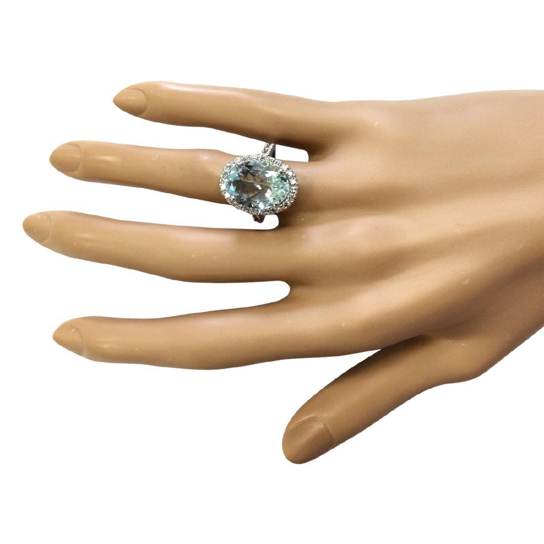 6.90 CTW Natural Aquamarine And Diamond Ring In 18K - 4