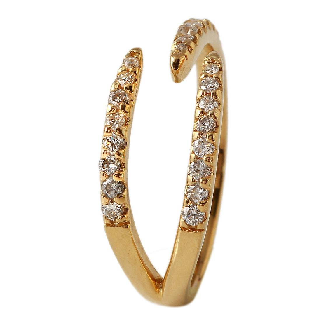 0.32 Carat Natural Diamond 18K Solid Yellow Gold Ring - 2