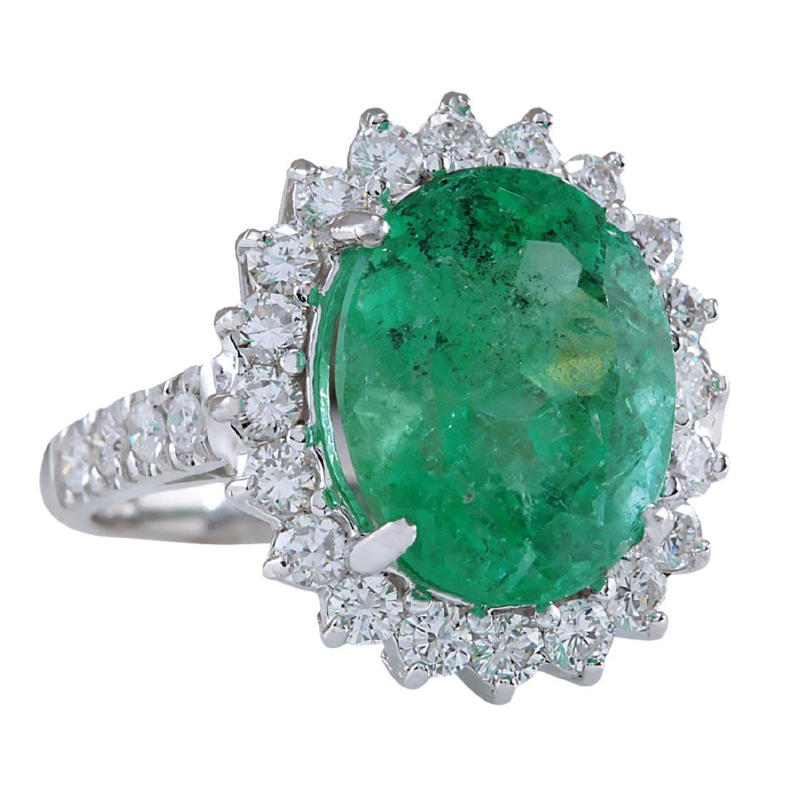 8.93CTW Natural Colombian Emerald And Diamond Ring In - 2