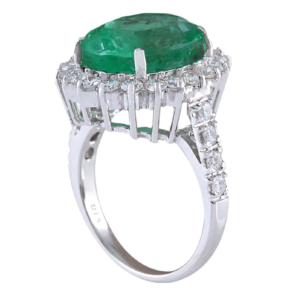 8.93CTW Natural Colombian Emerald And Diamond Ring In - 3