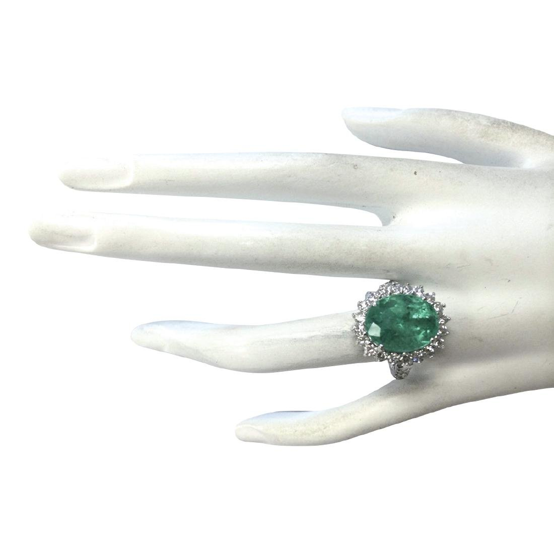 8.93CTW Natural Colombian Emerald And Diamond Ring In - 4