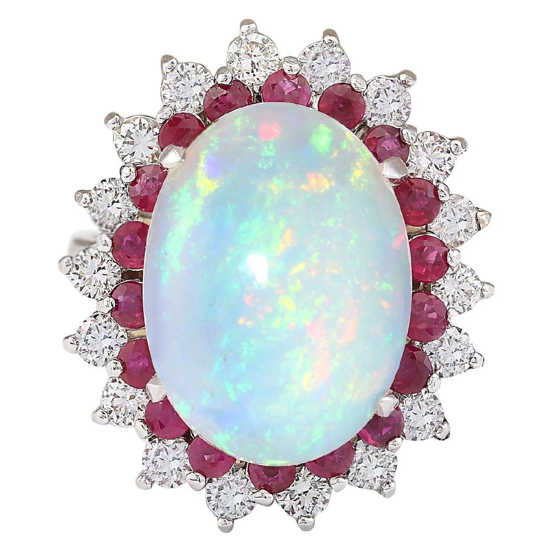 8.33 CTW Natural Opal, Ruby And Diamond Ring In18K