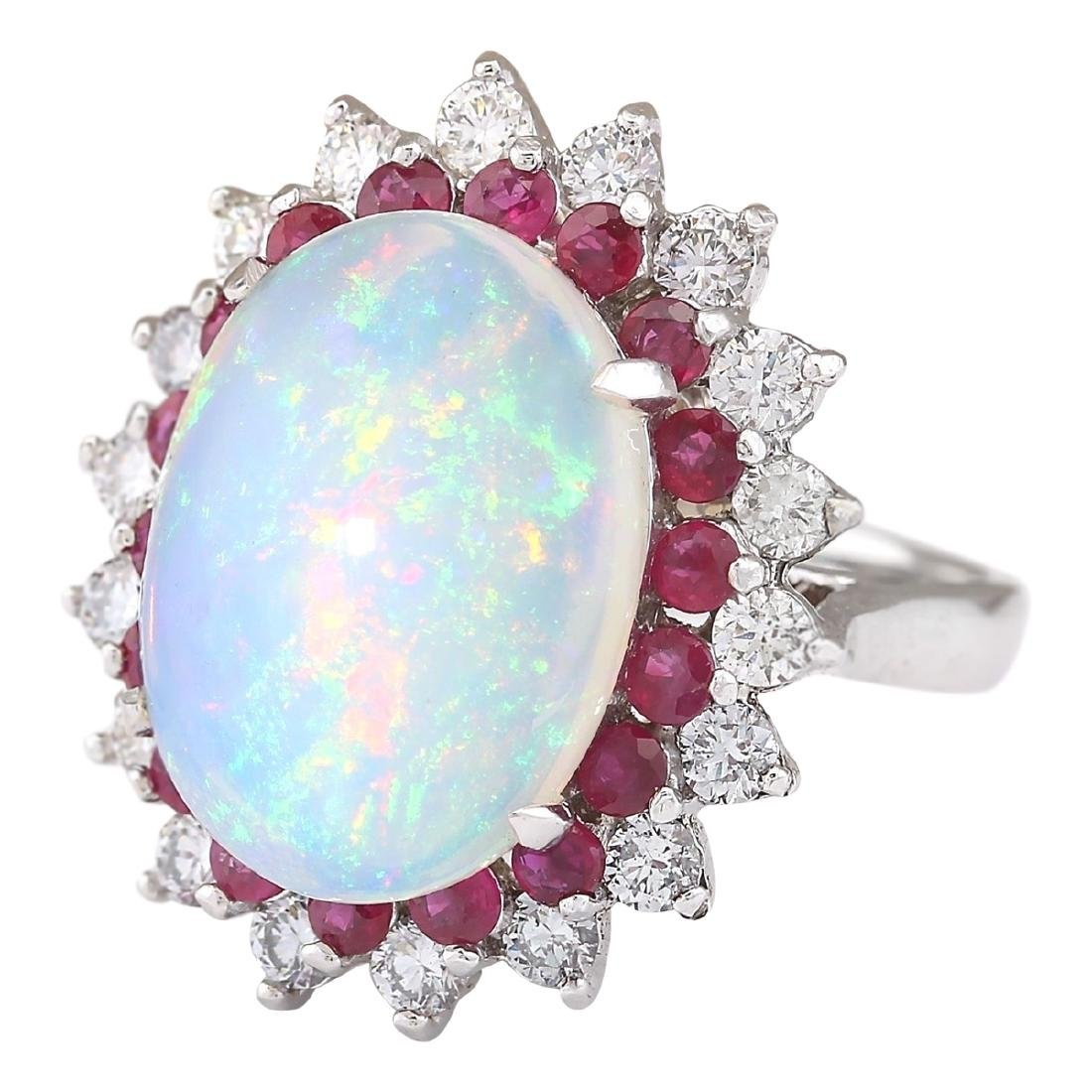 8.33 CTW Natural Opal, Ruby And Diamond Ring In18K - 2
