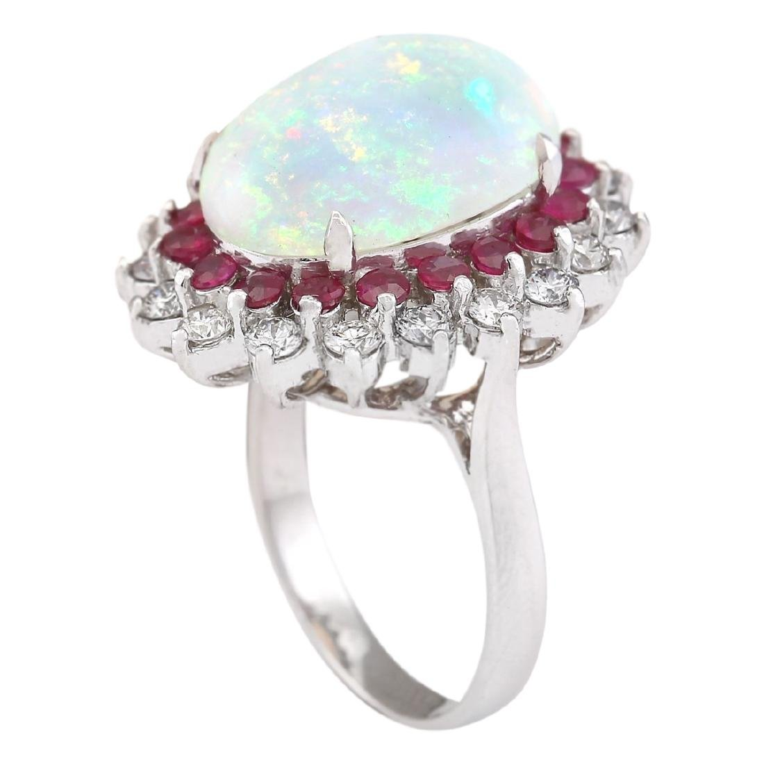8.33 CTW Natural Opal, Ruby And Diamond Ring In18K - 3