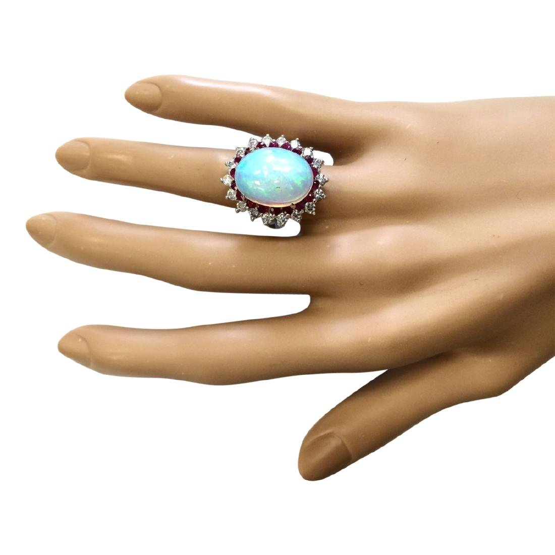 8.33 CTW Natural Opal, Ruby And Diamond Ring In18K - 4