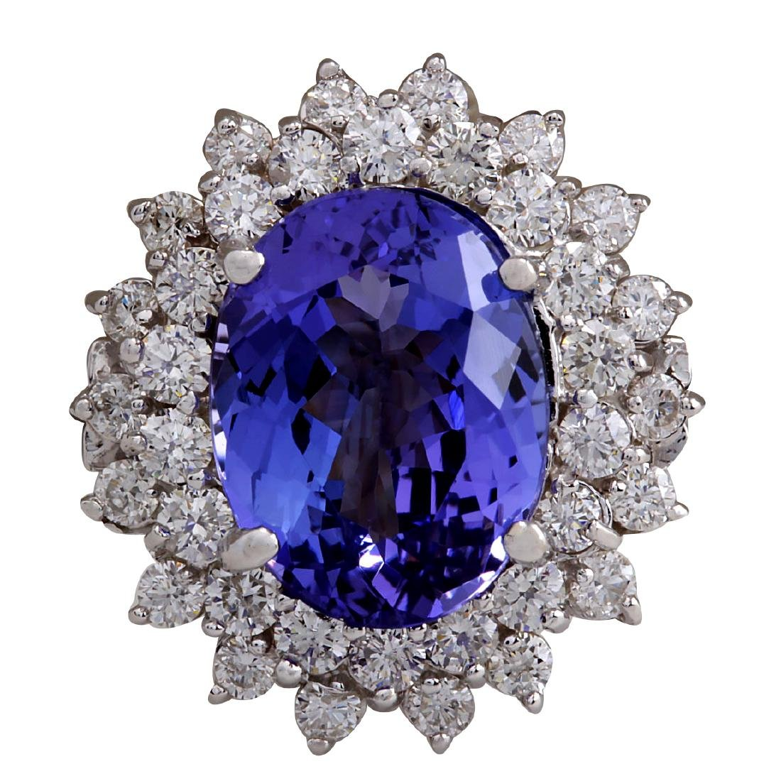 7.13CTW Natural Blue Tanzanite And Diamond Ring In 18K