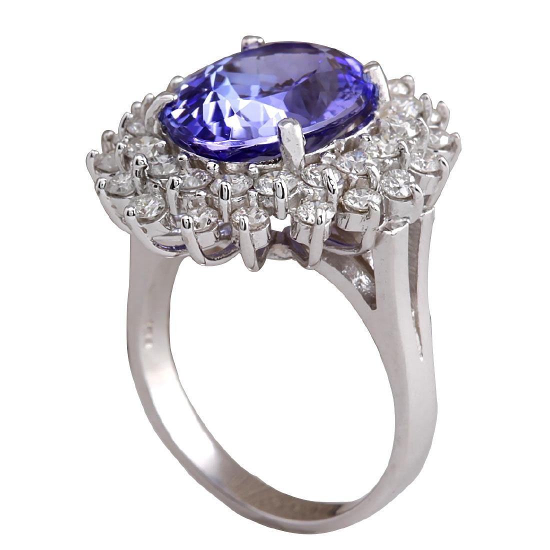 7.13CTW Natural Blue Tanzanite And Diamond Ring In 18K - 3