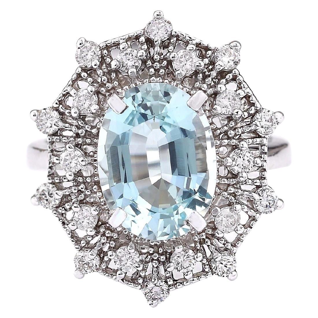 4.32 CTW Natural Aquamarine And Diamond Ring In 18K