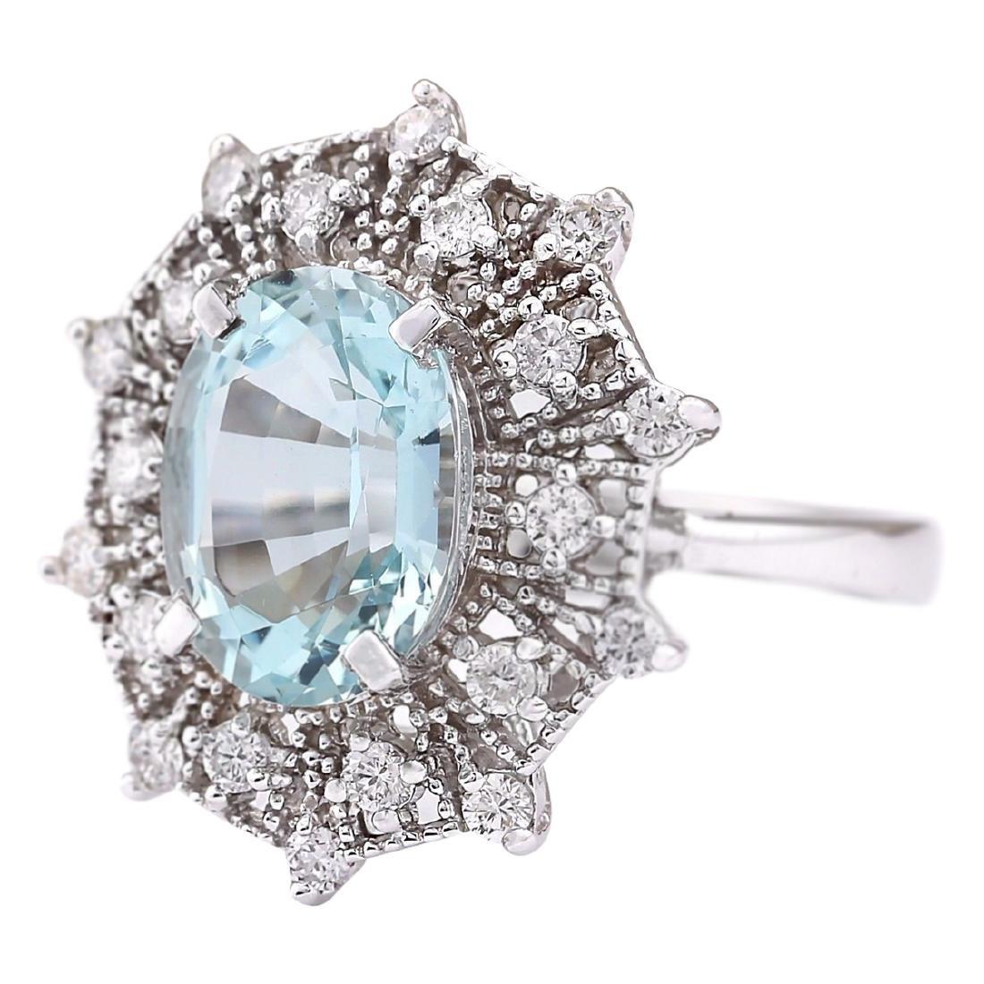 4.32 CTW Natural Aquamarine And Diamond Ring In 18K - 2