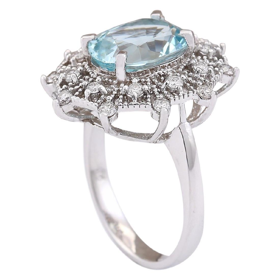 4.32 CTW Natural Aquamarine And Diamond Ring In 18K - 3