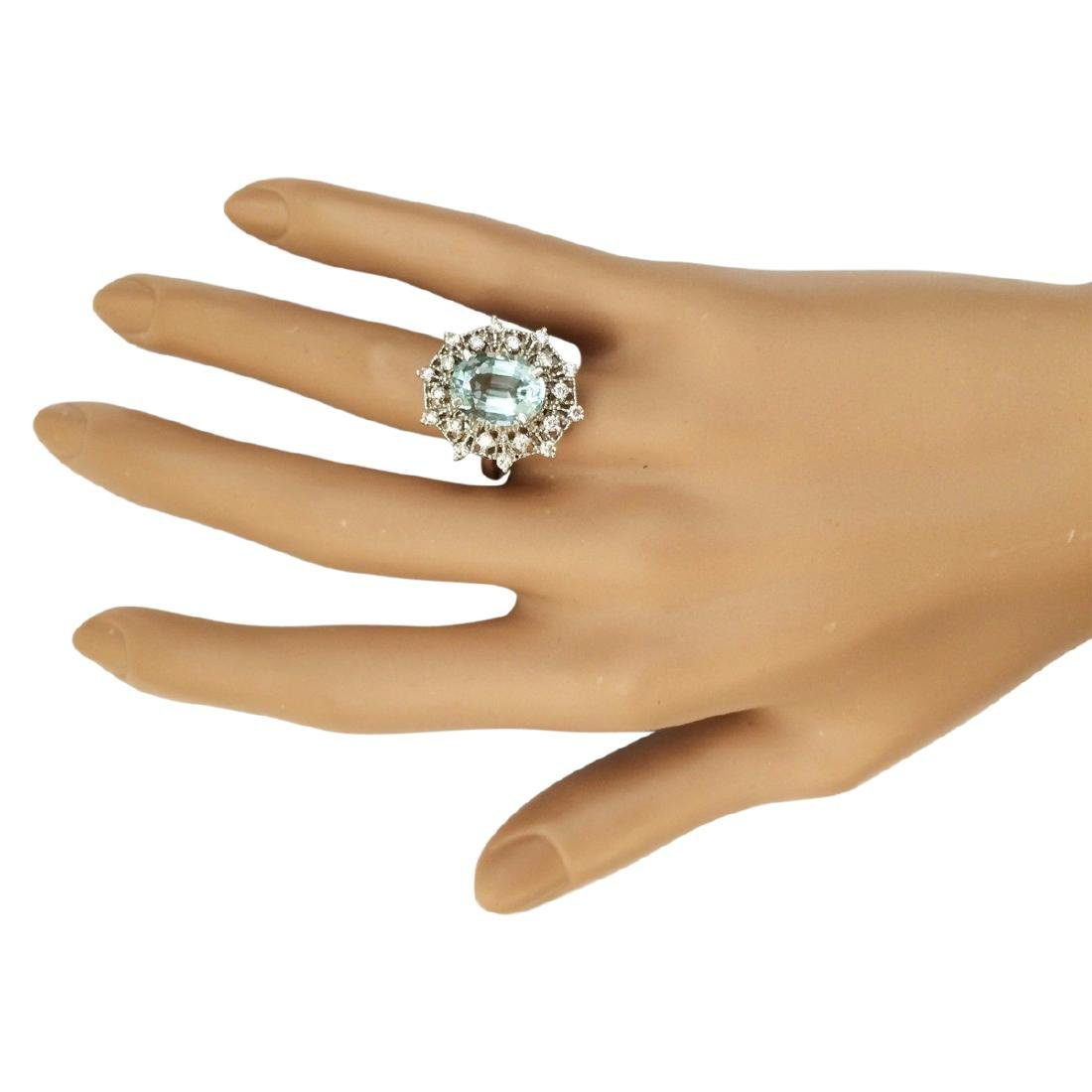 4.32 CTW Natural Aquamarine And Diamond Ring In 18K - 4