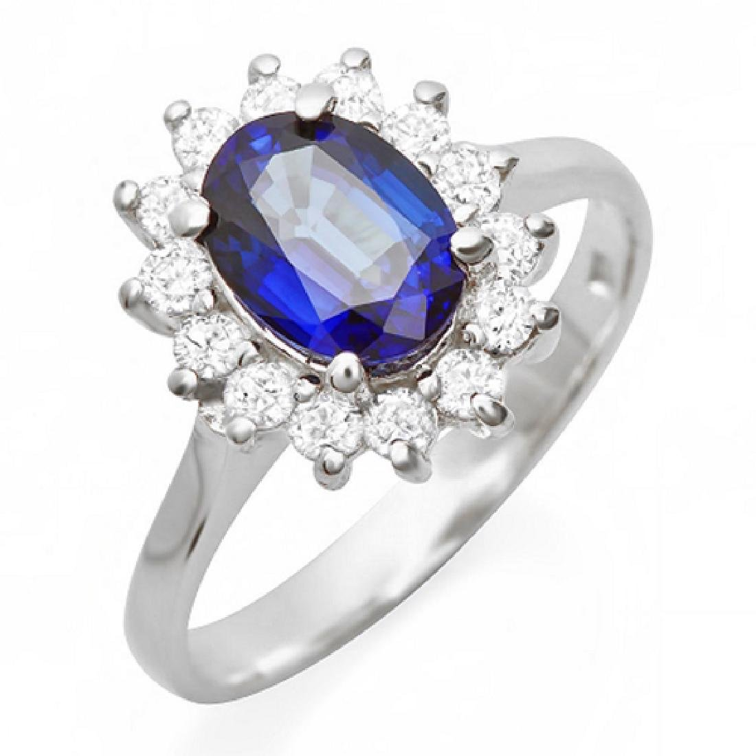 1.90 Carat Natural Sapphire 18K Solid White Gold