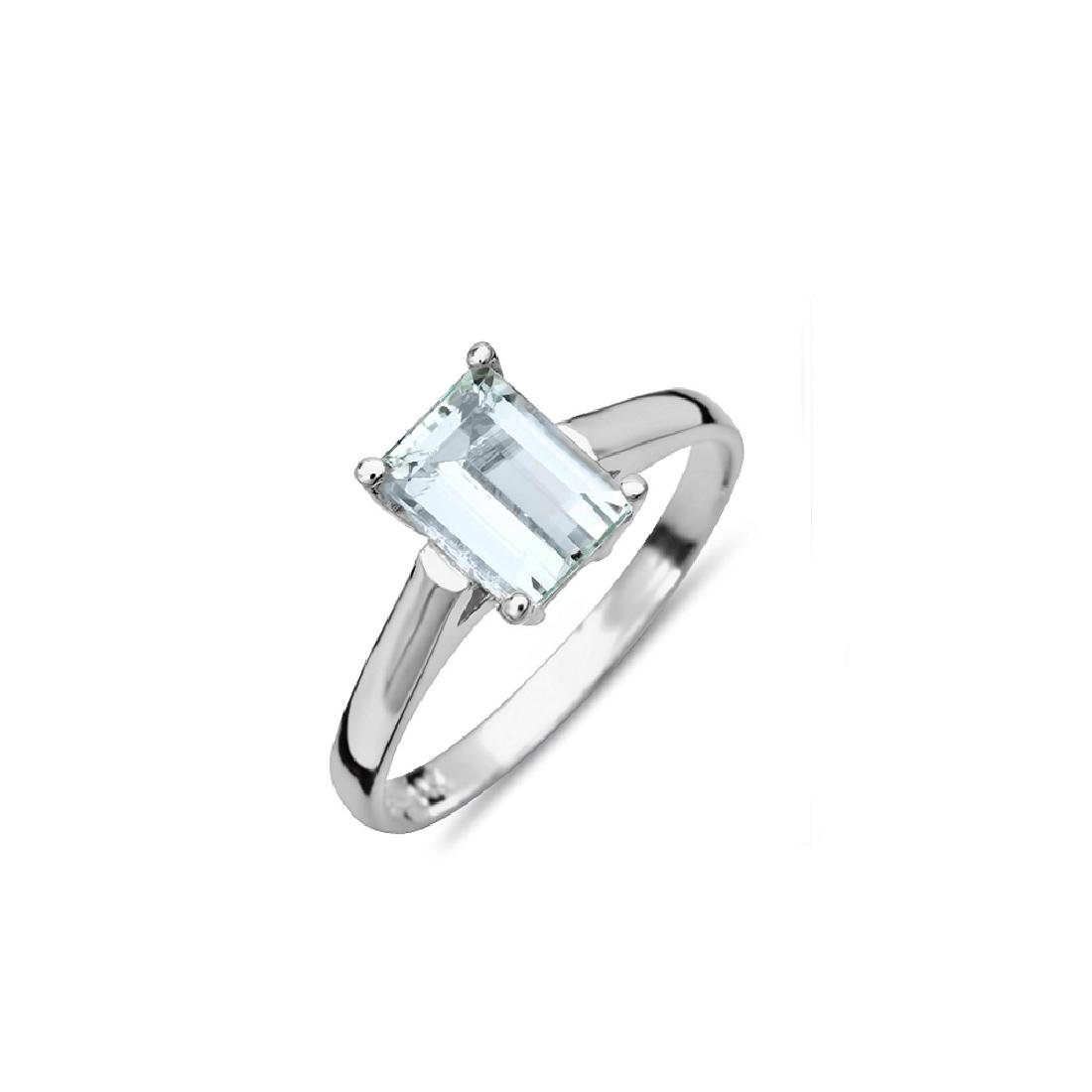 2.00 Carat Natural Aquamarine 18K Solid White Gold