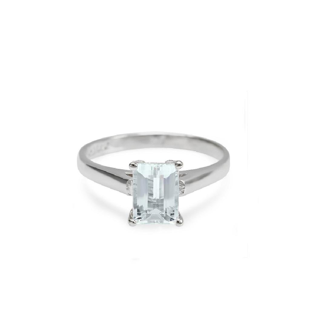 2.00 Carat Natural Aquamarine 18K Solid White Gold - 2