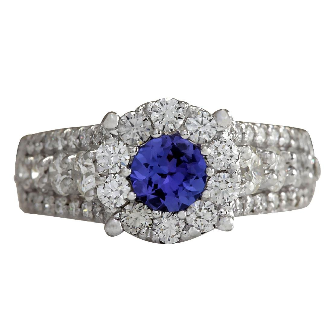 2.36CTW Natural Blue Tanzanite And Diamond Ring In 18K