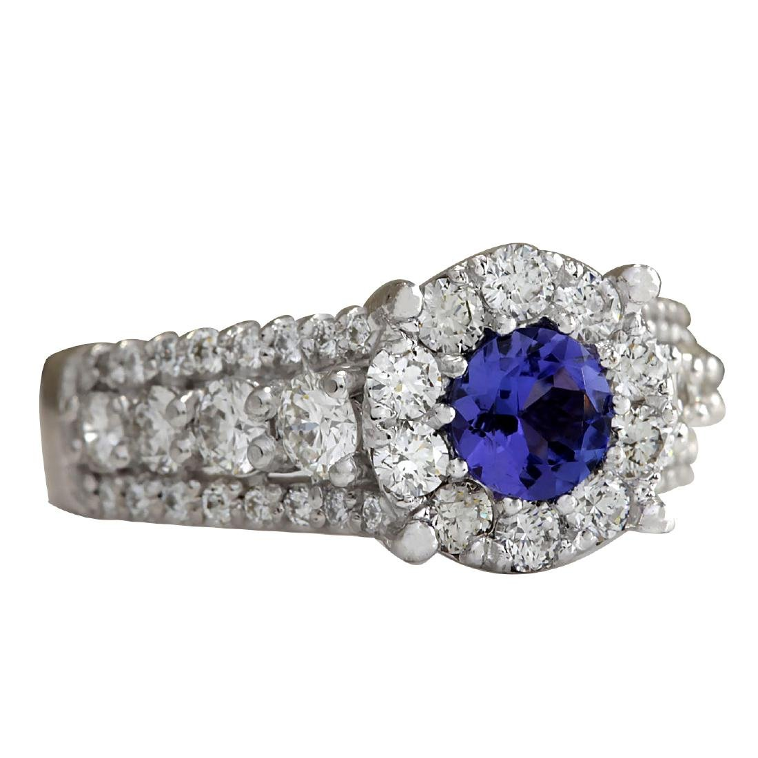 2.36CTW Natural Blue Tanzanite And Diamond Ring In 18K - 2