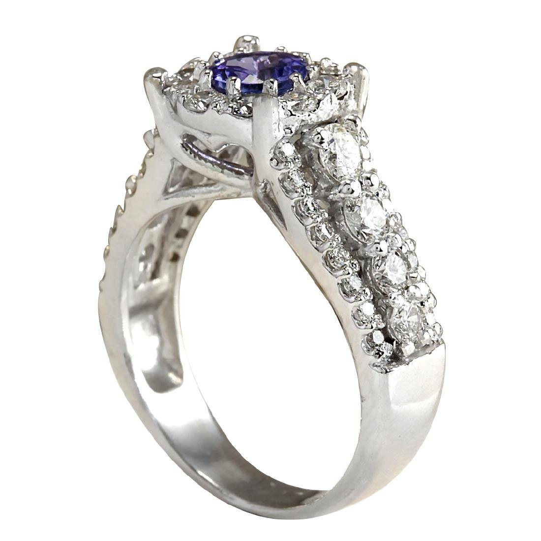 2.36CTW Natural Blue Tanzanite And Diamond Ring In 18K - 3