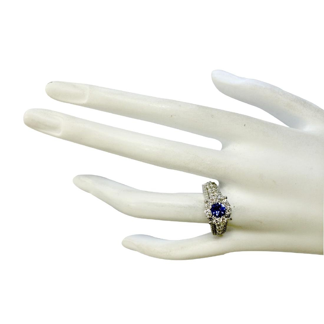 2.36CTW Natural Blue Tanzanite And Diamond Ring In 18K - 4