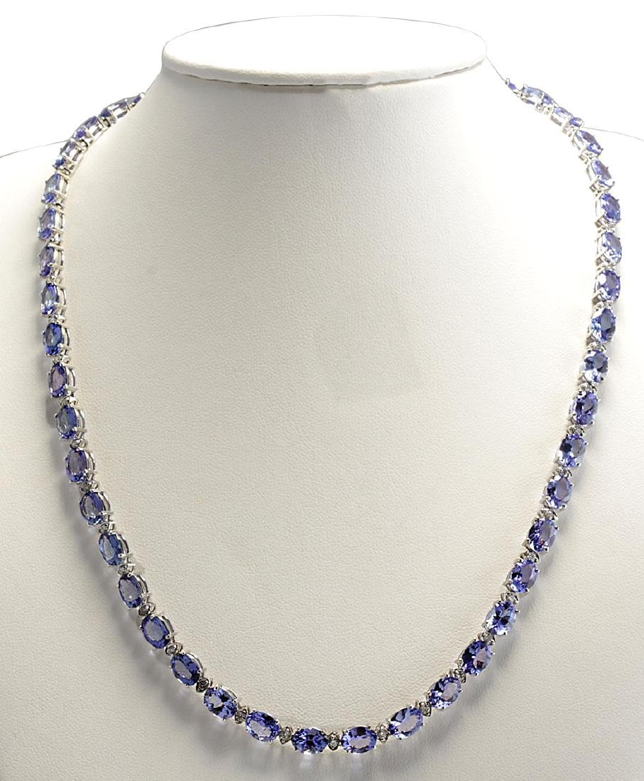 47.30CTW Natural Tanzanite And Diamond Necklace In 18K