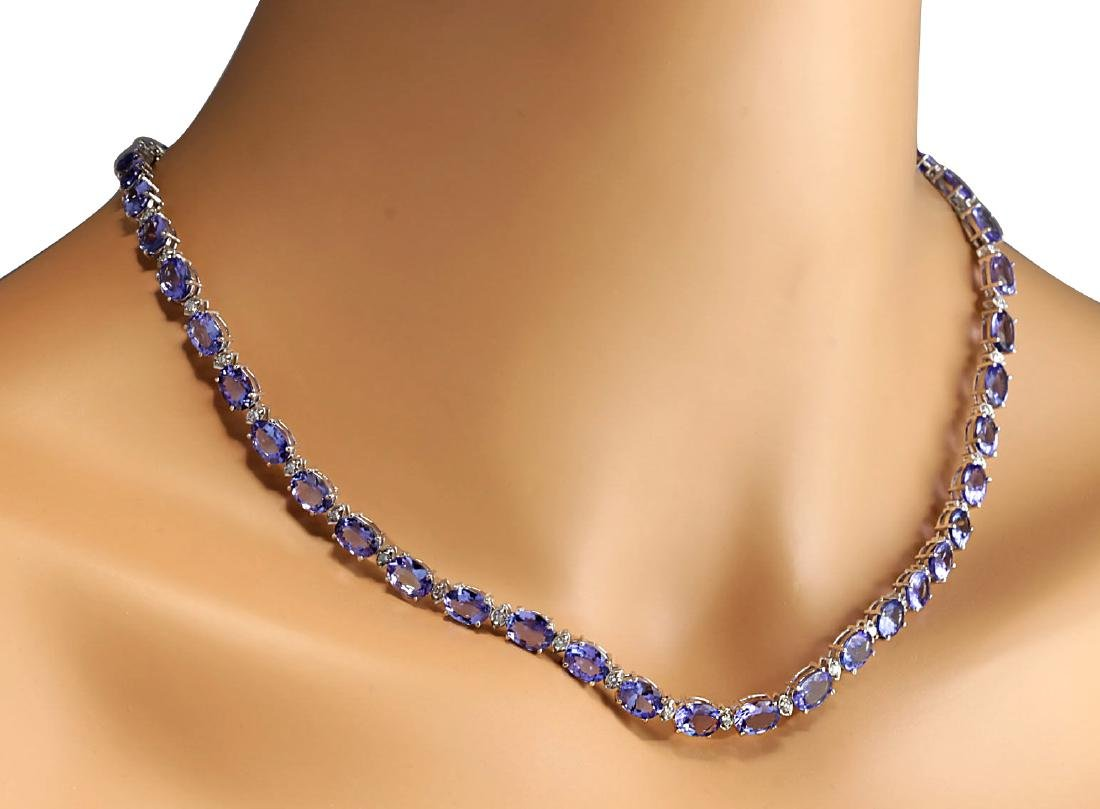 47.30CTW Natural Tanzanite And Diamond Necklace In 18K - 3