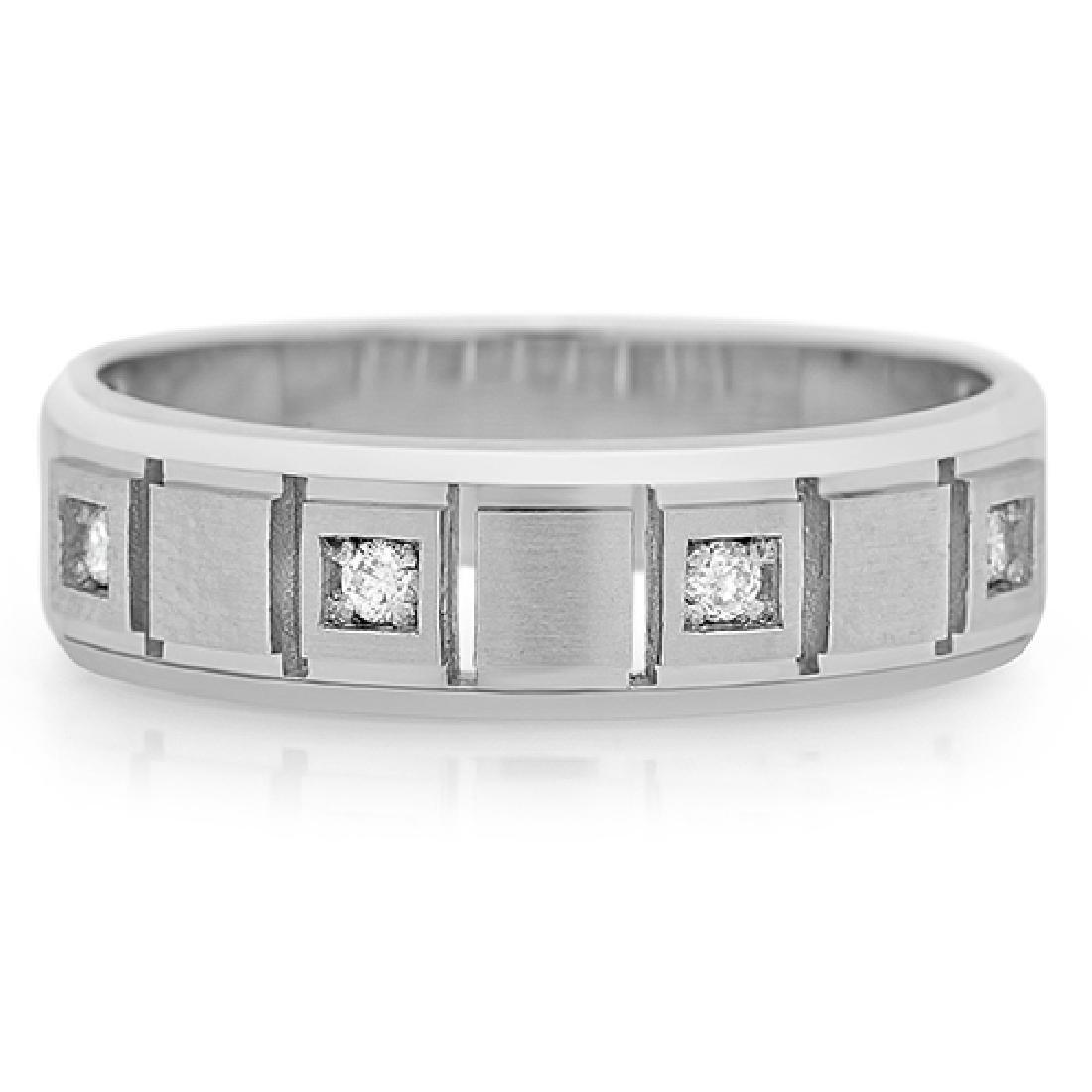 Mens 0.90 Carat Natural Diamond 18K Solid White Gold