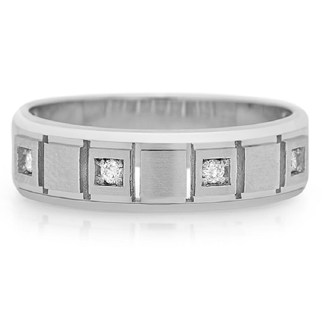 Mens 0.90 Carat Natural Diamond 18K Solid White Gold - 2