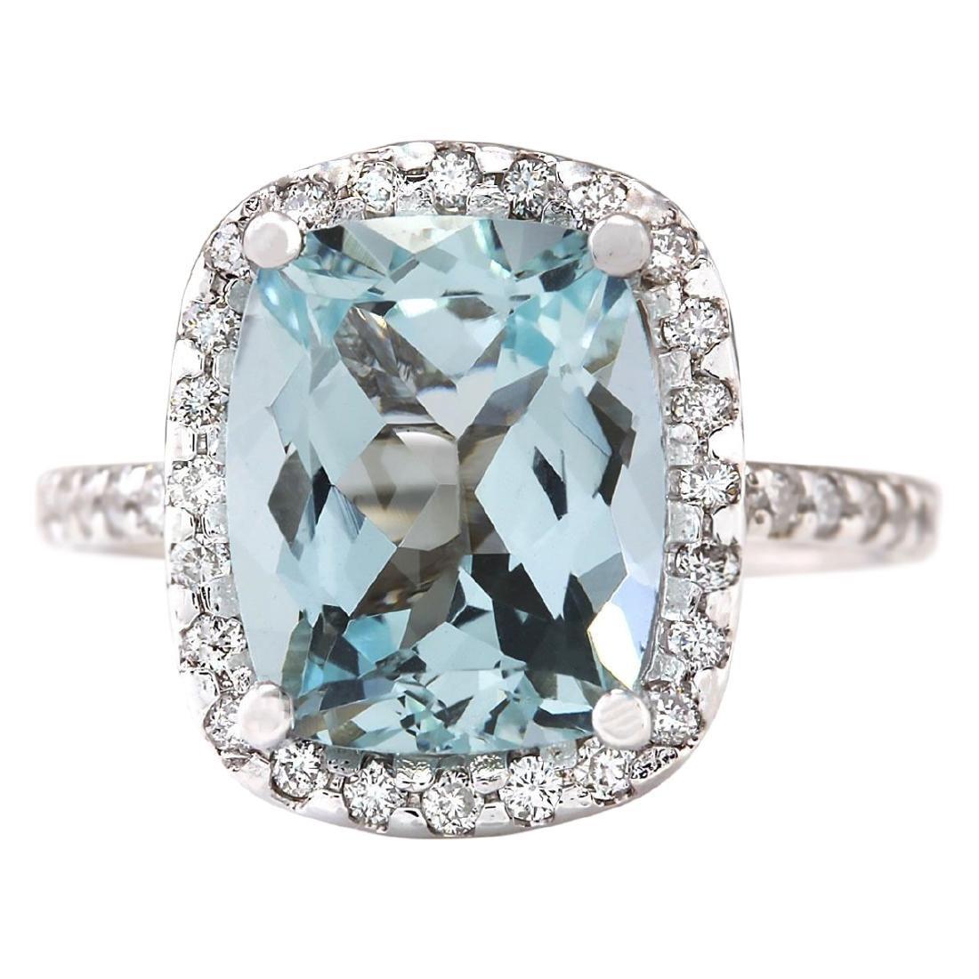 4.30 CTW Natural Aquamarine And Diamond Ring In 18K