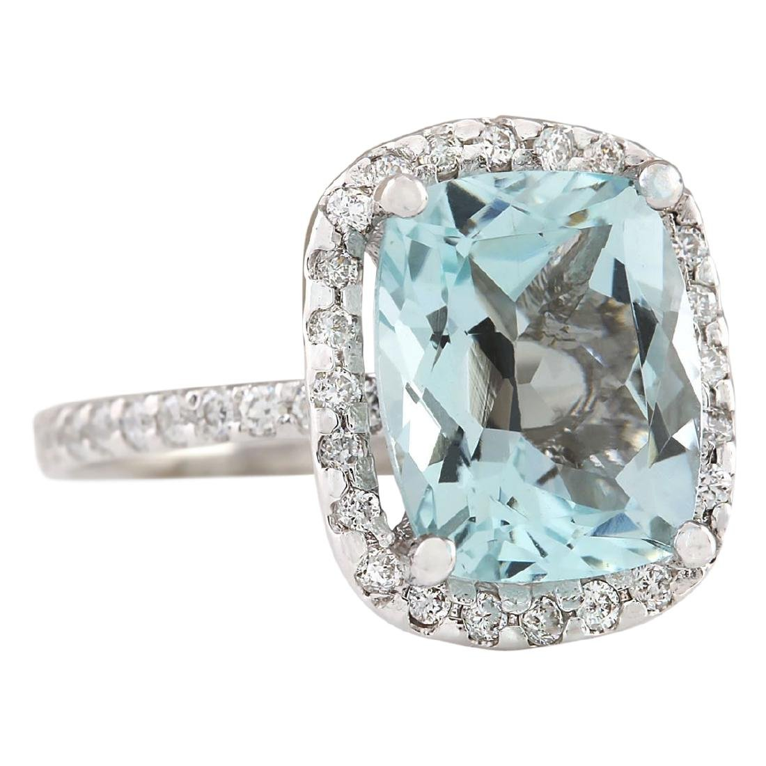 4.30 CTW Natural Aquamarine And Diamond Ring In 18K - 2
