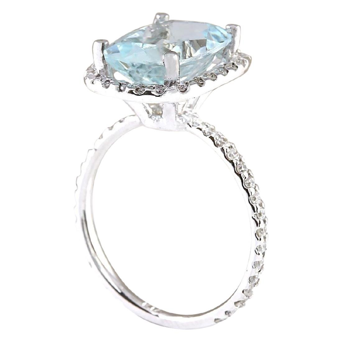 4.30 CTW Natural Aquamarine And Diamond Ring In 18K - 3