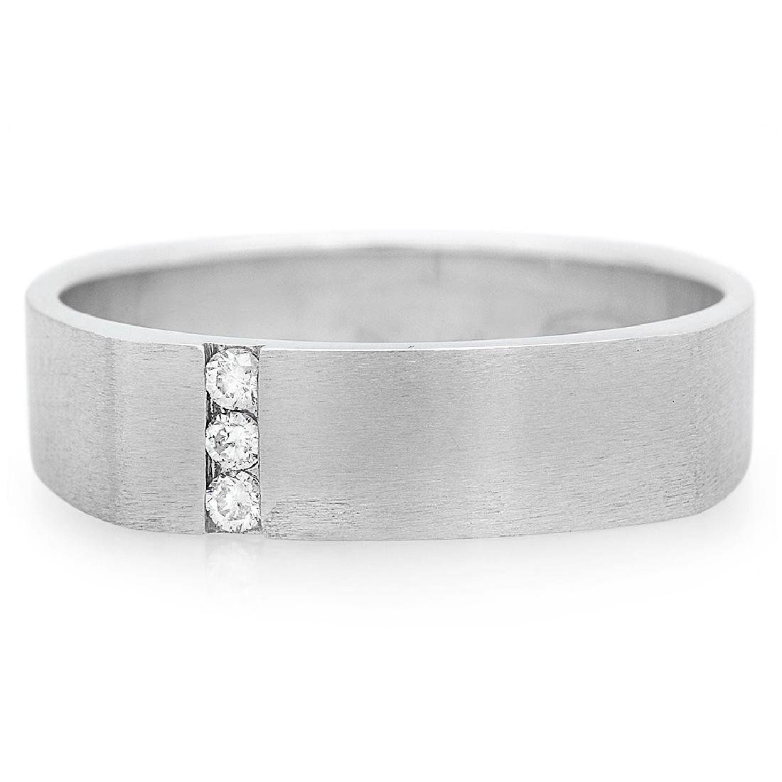 Mens 0.07 Carat Natural Diamond 18K Solid White Gold