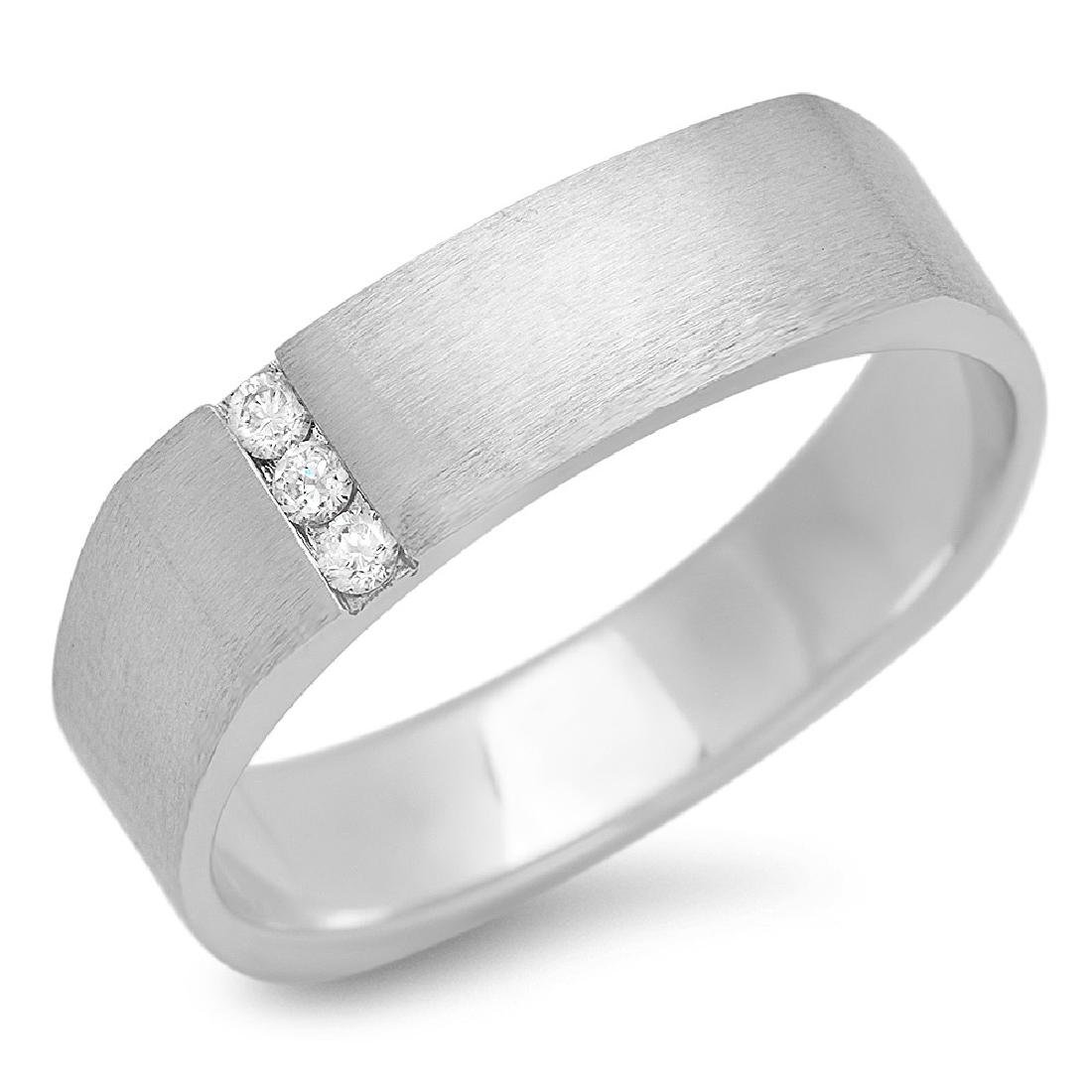 Mens 0.07 Carat Natural Diamond 18K Solid White Gold - 2