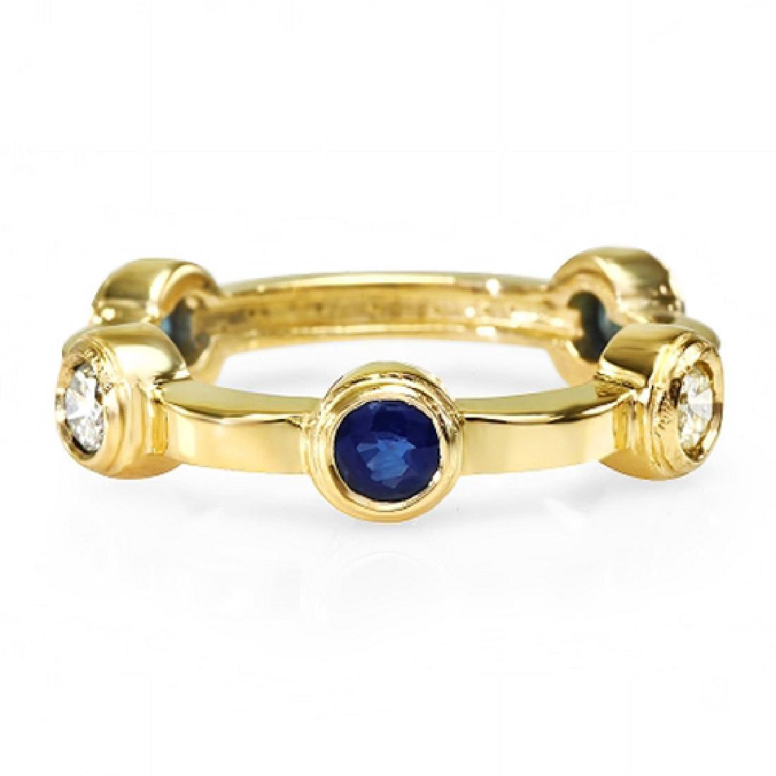0.90 Carat Natural Sapphire 18K Solid Yellow Gold
