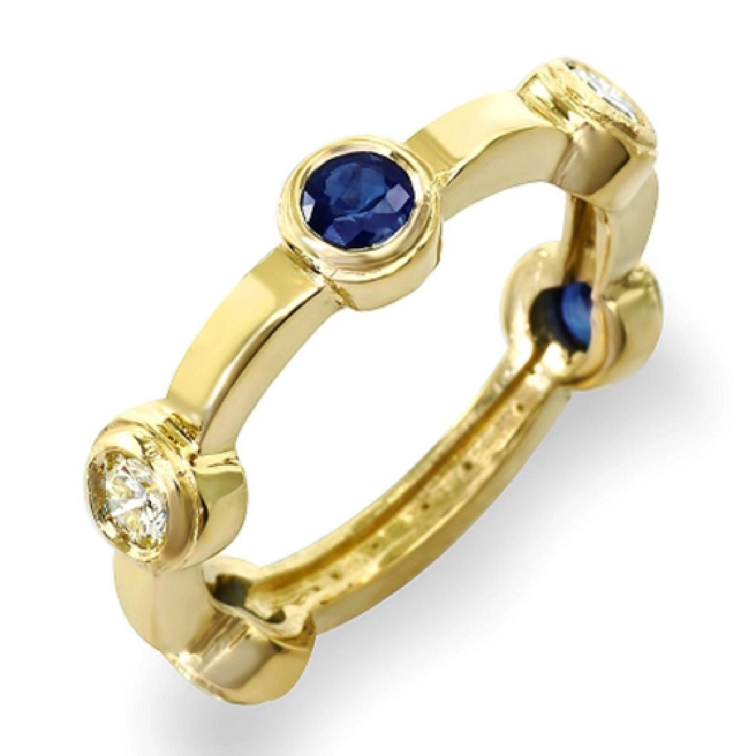 0.90 Carat Natural Sapphire 18K Solid Yellow Gold - 2