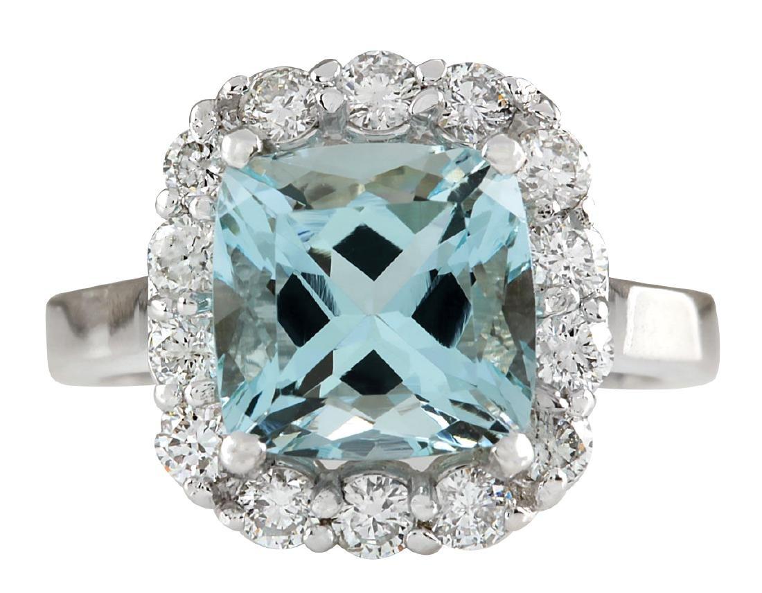 4.17CTW Natural Blue Aquamarine And Diamond Ring 18K