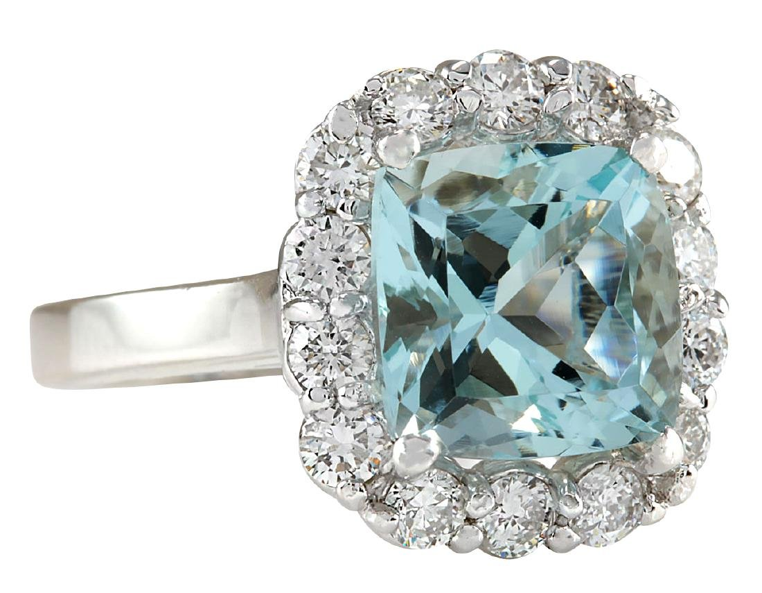 4.17CTW Natural Blue Aquamarine And Diamond Ring 18K - 2