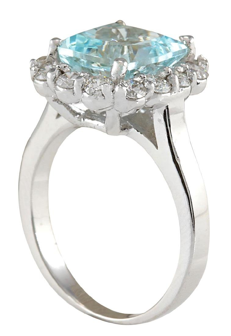 4.17CTW Natural Blue Aquamarine And Diamond Ring 18K - 3