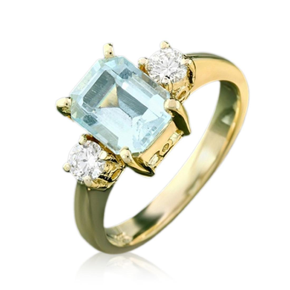 2.10 Carat Natural Aquamarine 18K Solid Yellow Gold