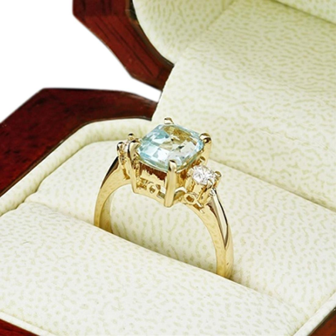 2.10 Carat Natural Aquamarine 18K Solid Yellow Gold - 2