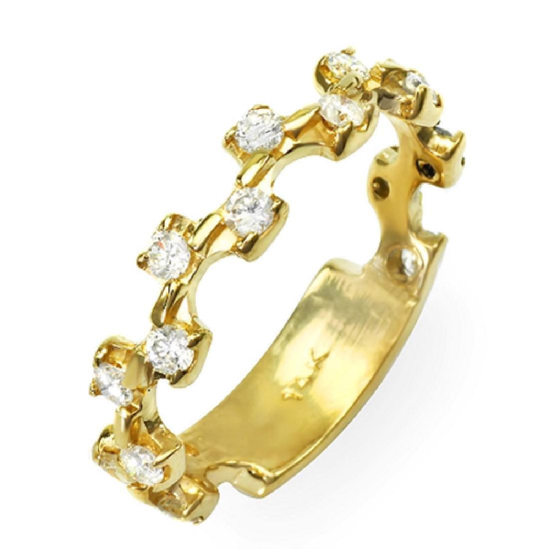 Mens 0.56 Carat Natural Diamond 18K Solid Yellow Gold - 2