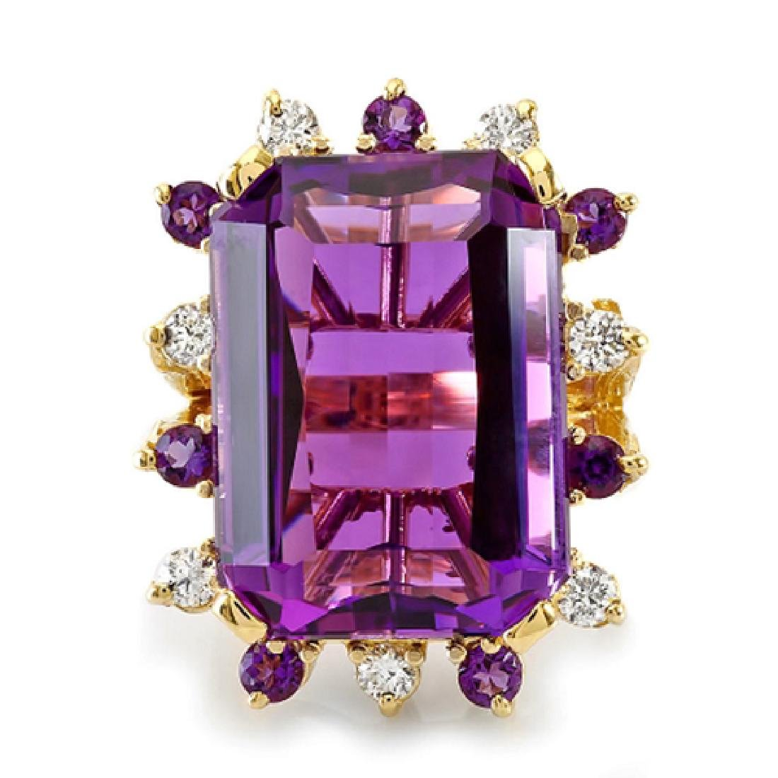 35.56 Carat Natural Amethyst 18K Solid Yellow Gold