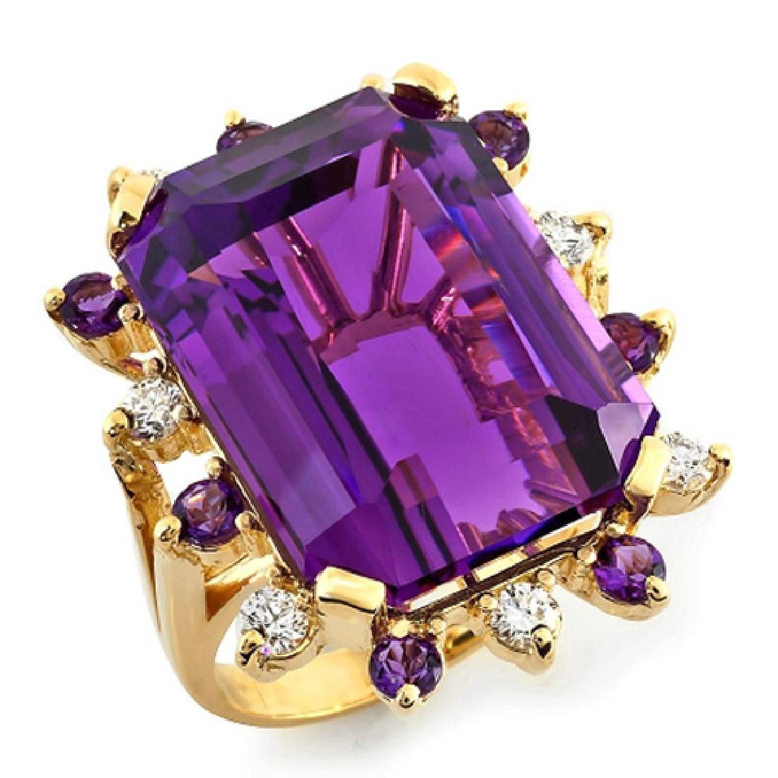 35.56 Carat Natural Amethyst 18K Solid Yellow Gold - 2