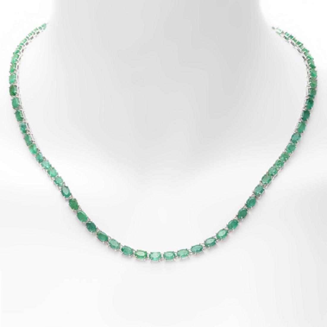 30.70 Carat Natural Emerald 18K Solid White Gold