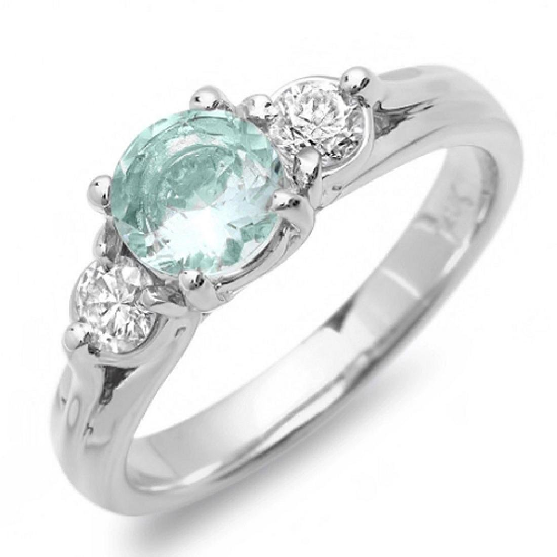 1.30 Carat Natural Aquamarine 18K Solid White Gold