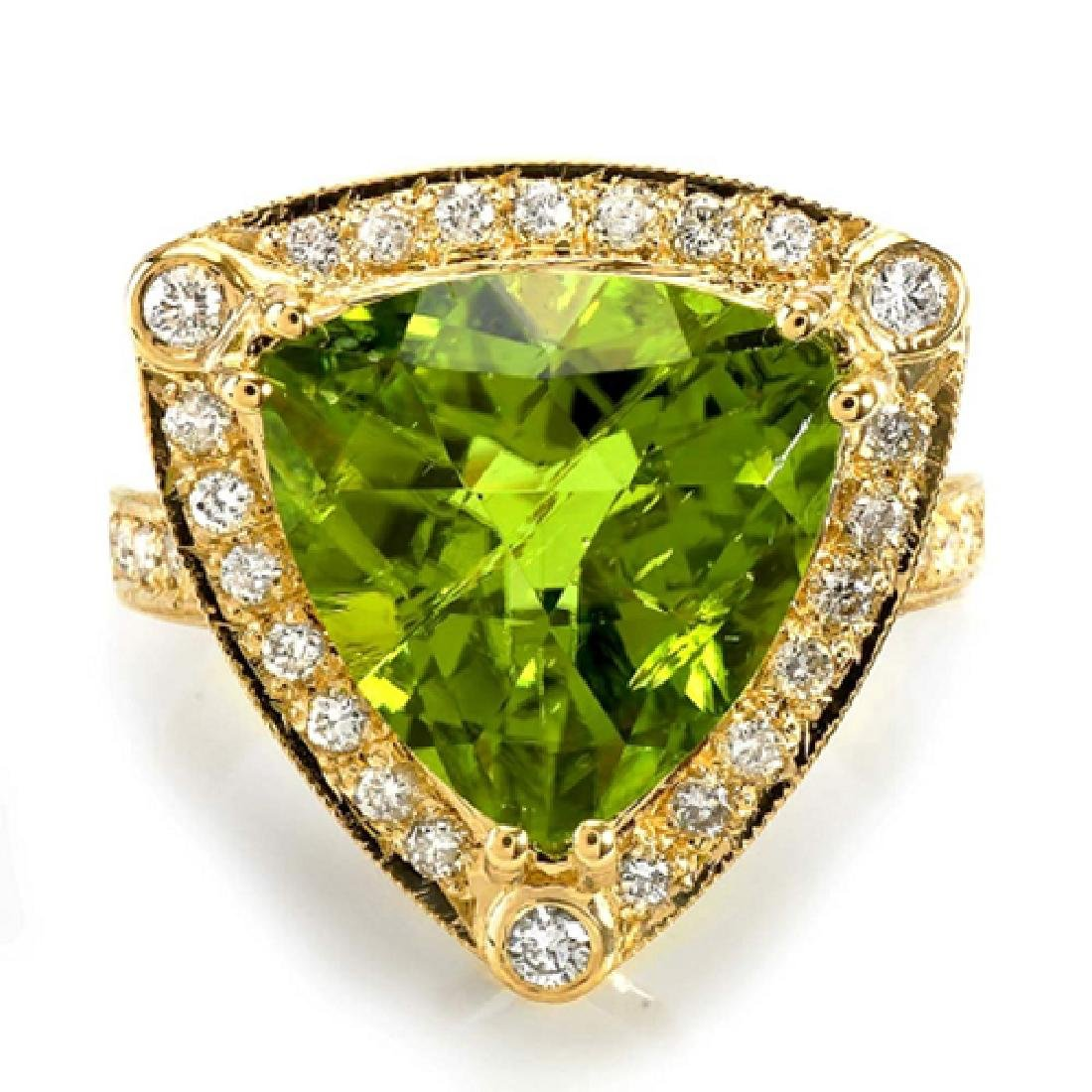 7.90 Carat Natural Peridot 18K Solid Yellow Gold